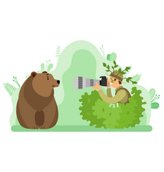 photograph taking picture bear wild nature vector image