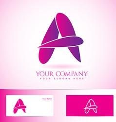 Purple pink 3d letter A logo vector