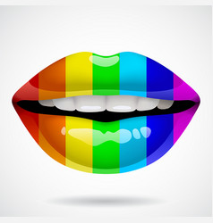 Rainbow lips vector