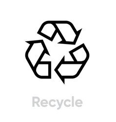 Recycle line icon recycling sign isolated vector