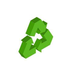 recycling sign green recast symbol running emblem vector image