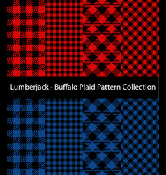 Red and blue lumberjack collection vector
