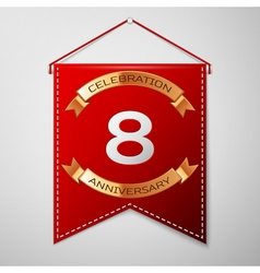 Red pennant with inscription Eight Years vector