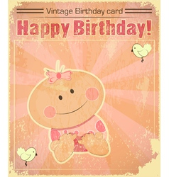 Retro Baby Girl Birthday Card vector