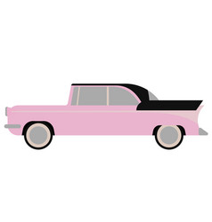 Retro pink car flat on white vector