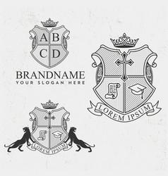 royal crest logo set 3 luxury vector image