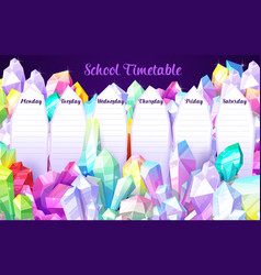 school timetable template with crystal gems vector image