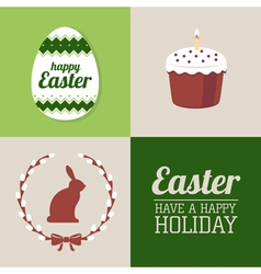 set easter decorative elements and label vector image