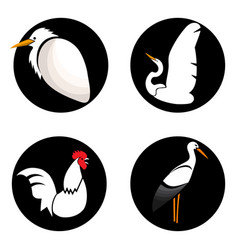 set of abstract birds on black circles for logo vector image