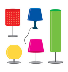set of lamp furniture table lamps vector image