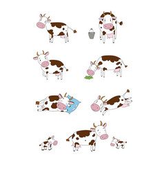 Set with cute cartoon cow farm animals vector