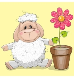 Sheep with flower vector