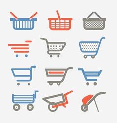 Shopping carts and trolleys vector