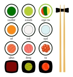 Simple sushi icons set vector