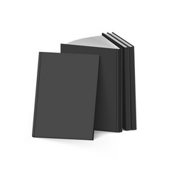 Stack of blank black books on white background vector