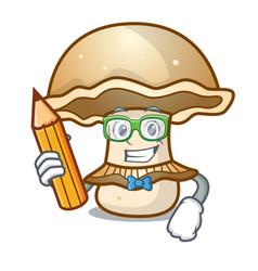 Student portobello mushroom character cartoon vector