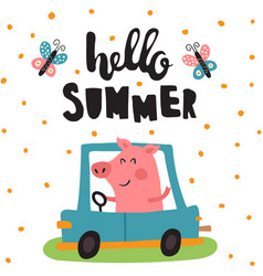 summer pig vector image vector image