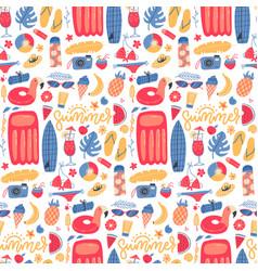 summer vacation holiday icons seamless pattern vector image