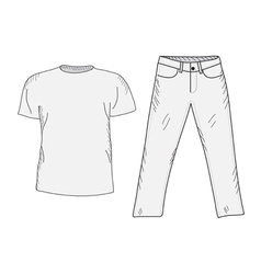 T-shirt and jeans sketch set vector