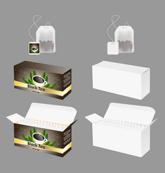 Tea packaging realistic mock up set vector