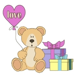 Teddy Bear gift boxes and balloones vector image