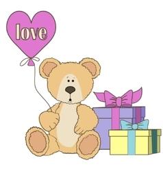 Teddy Bear gift boxes and balloones vector