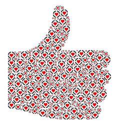 Thumb finger up shape of casino hearts icons vector