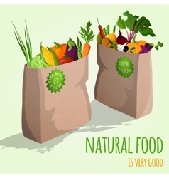 Vegetables in bags concept vector image