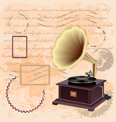 Vintage background with music gramophone vector