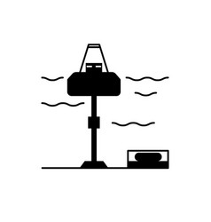 wave energy station silhouette icon in flat style vector image
