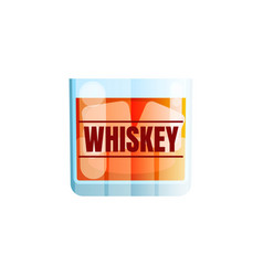 whiskey icon scotch brandy glass ice cube vector image
