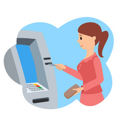 Woman using atm machine vector