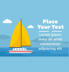 yellow sail yacht concept banner flat style vector image