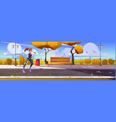 young girl jogging in city park sportswoman run vector image