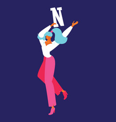 Young woman dancing with flat letter n english vector