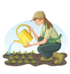 Young woman watering with can a bed in garden vector