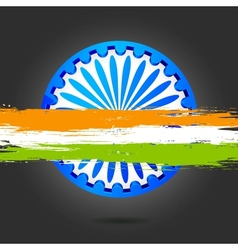 Ashok Chakra with Grungy India tricolor vector image vector image