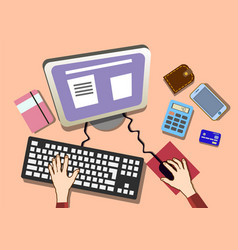 flat design work desk with hands office workplace vector image