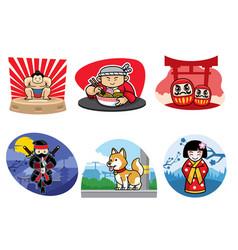japan badge design set vector image vector image