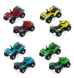 Quad bikes isometric icons set graphic vector image