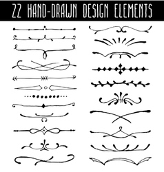 Set of hand-drawn line border dividers and design vector image