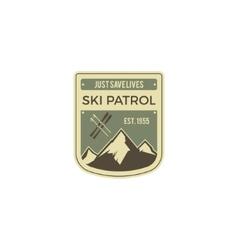 Ski patrol label vintage mountain winter camp vector