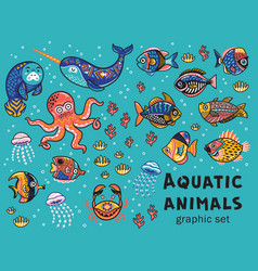 aquatic animals collection vector image