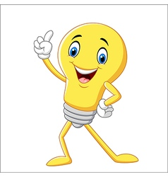 Cartoon funny light bulb pointing his finger vector image