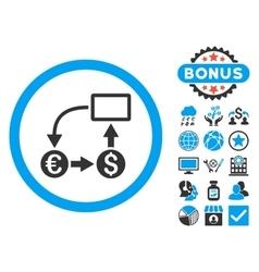 Cashflow Euro Exchange Flat Icon with Bonus vector image