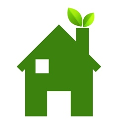 Green house and leaves EPS10 vector image