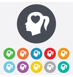 Head with heart sign icon Female woman head vector image vector image