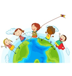 Kids running around the world vector image vector image