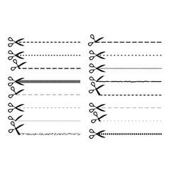 scissor dotted line set vector image vector image