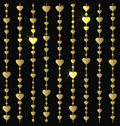 seamless pattern with hanging gold hearts garlands vector image vector image